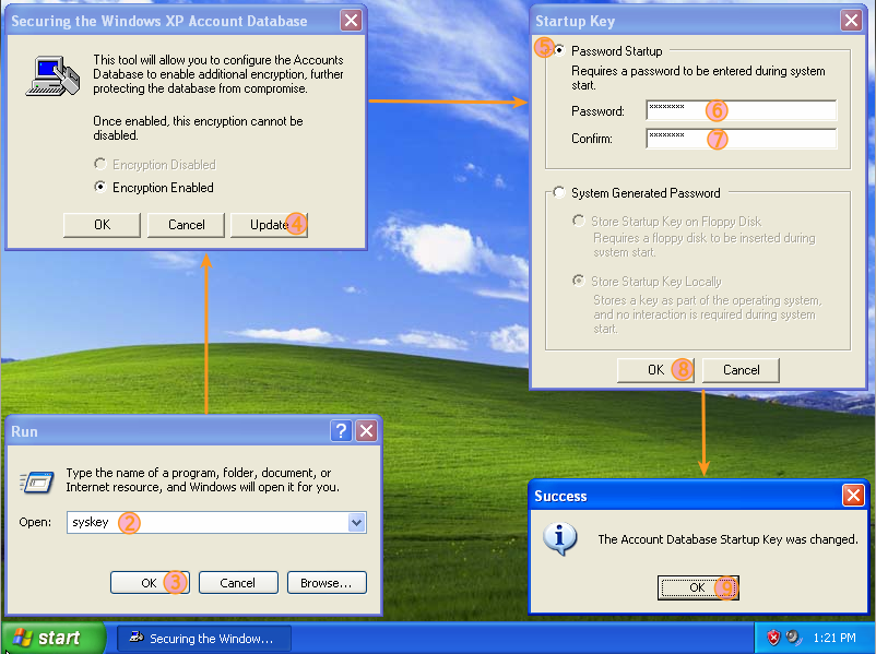 Process for setting up Syskey on Windows XP.